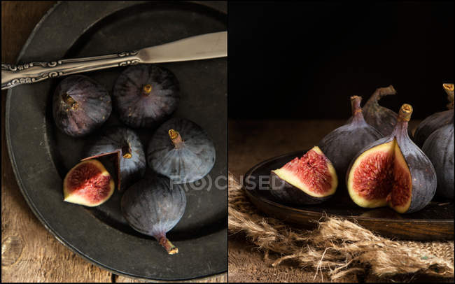 Fresh figs on plate — Stock Photo