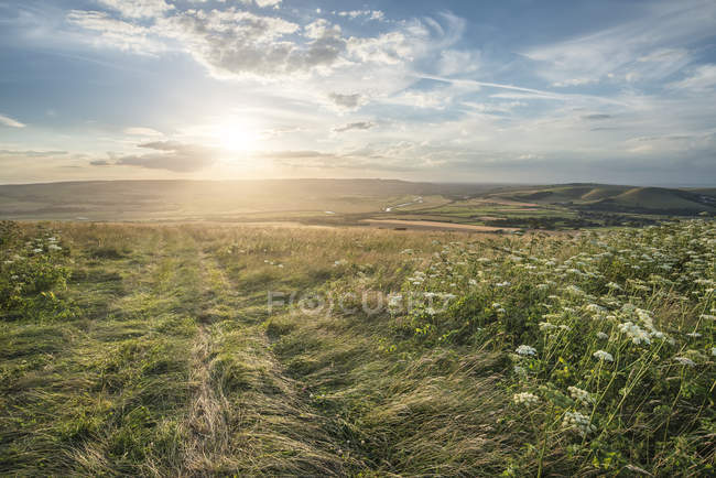 Sunset landscape over rolling countryside — Stock Photo