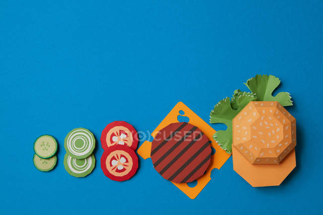 Burger preparation from paper — Stock Photo