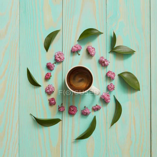 Caffè circondata dai fiori della Margherita rosa — Foto stock