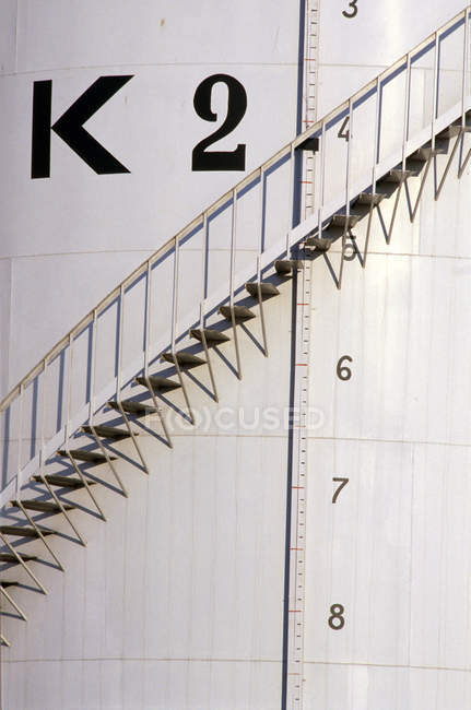 Ascending stairs on exterior of fuel tank — Stock Photo