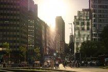 Modern city in sunset — Stock Photo