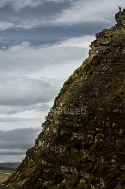 Man standing on peak of mountain hill — Stock Photo