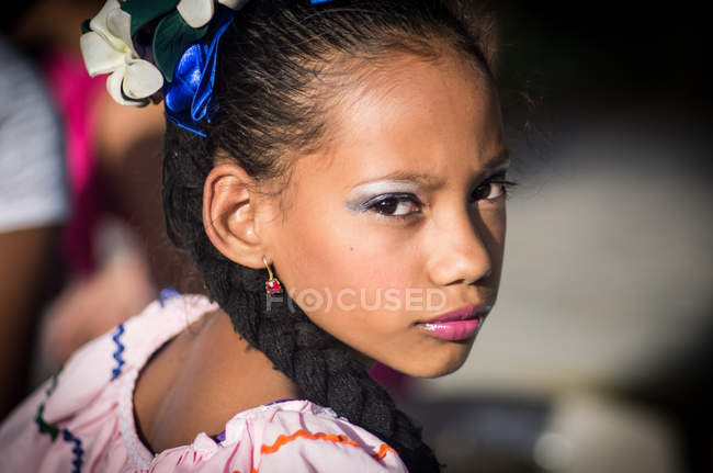 Portrait of girl in traditional costume — Stock Photo