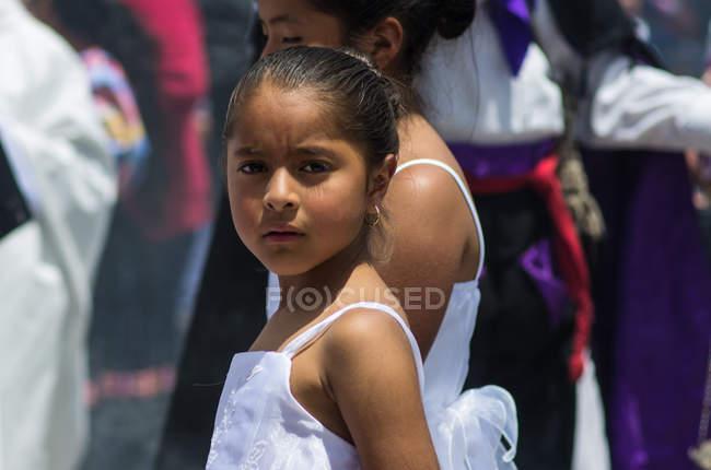 Girls dancers on street festival — Stock Photo