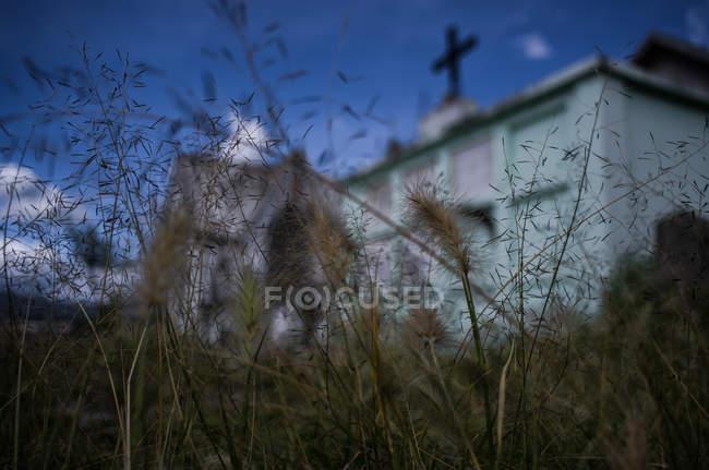Mausoleum durch Rasen gesehen — Stockfoto