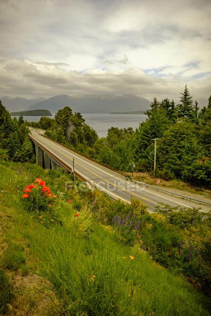 Vue sur le pont et les montagnes — Photo de stock