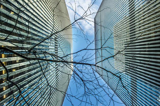 Vue du bas des gratte-ciel de Manhattan — Photo de stock