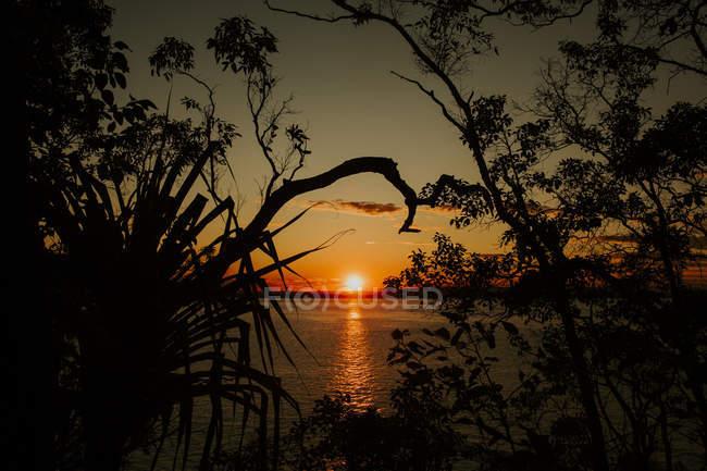 Vue du coucher du soleil sur le lac — Photo de stock