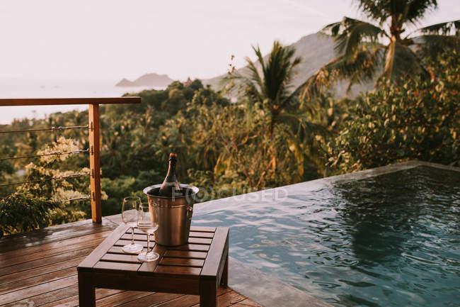 Secchio di ghiaccio con champagne e due bicchieri — Foto stock