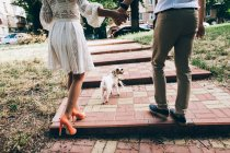 Couple walking with dog on city street — Stock Photo