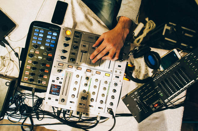 Mixer, wires and hand — Stock Photo