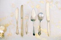 Antique silver cutlery — Stock Photo