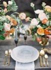 Hochzeit-Einstellung Tabelle — Stockfoto