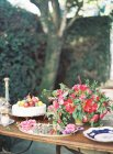Conjunto mesa festiva com bolo — Fotografia de Stock