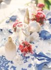 Wedding decor at setting table — Stock Photo