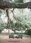Vintage wooden swing decorated with flowers — Stock Photo