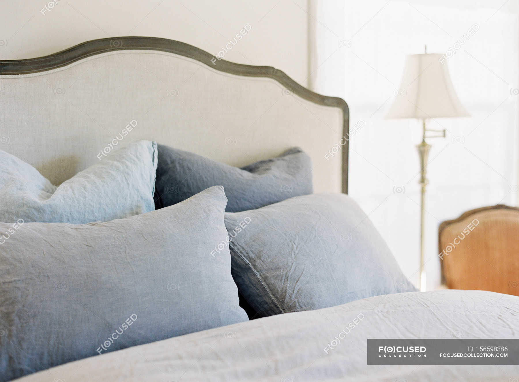 Big Bed With Pillows Freshness Comfort Stock Photo 156598386
