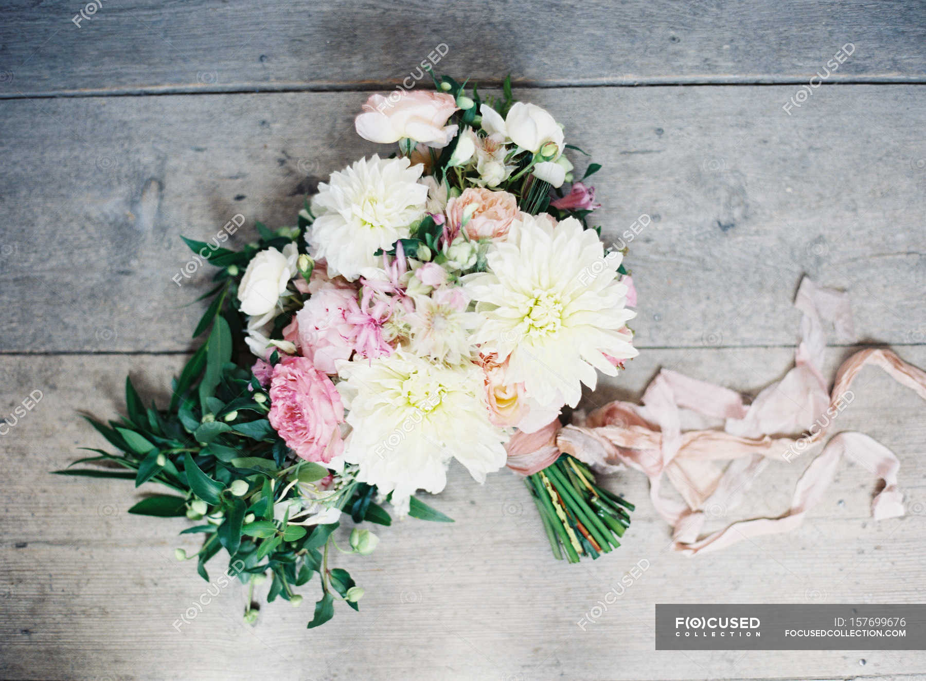 Wedding Bouquet With Daisies Copy Space Top View Stock Photo