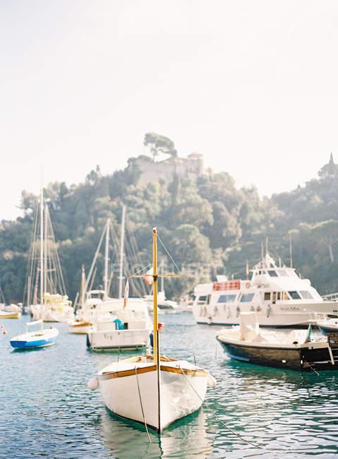Boats and yachts anchored at harbor — Stock Photo