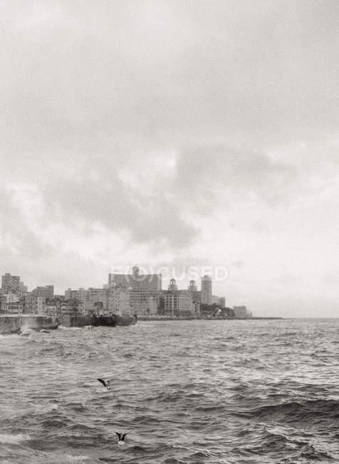 Marine com prédios no litoral — Fotografia de Stock