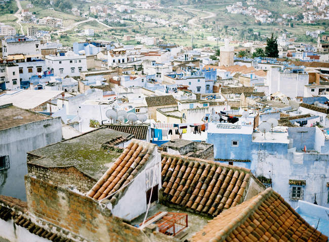 Rooftops of homes in Chefchaouen — Stock Photo