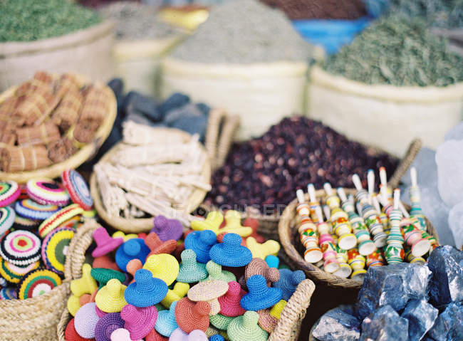 Various items at market stall — Stock Photo