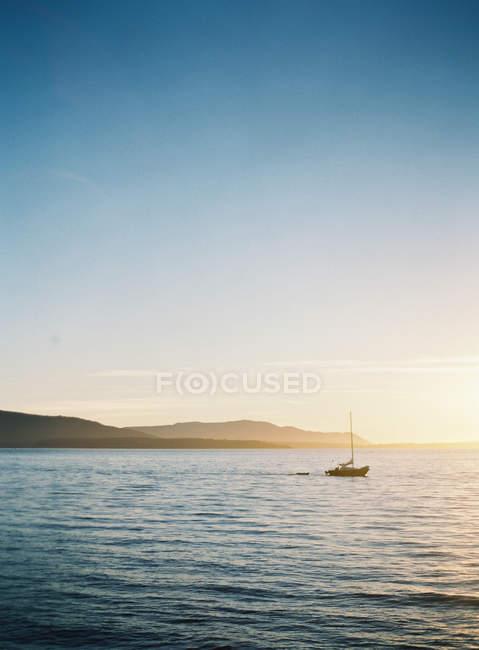 Barca a vela nel mare di vongole — Foto stock