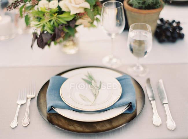 Wedding decorated setting table — Stock Photo
