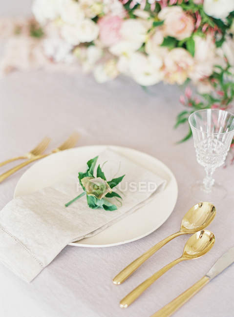 Place setting at table — Stock Photo