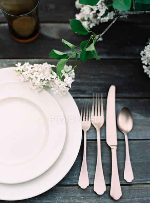 Pratos e talheres na mesa de madeira — Fotografia de Stock