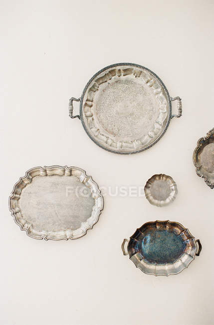 Antique silver bowls and dishes — Stock Photo