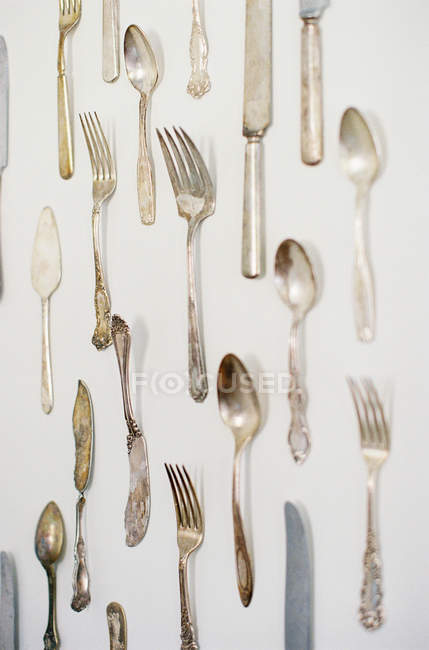 Antique silver cutlery — Stock Photo