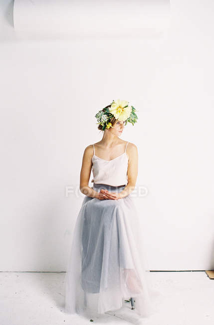 Woman in tulle dress and with flower crown — Stock Photo