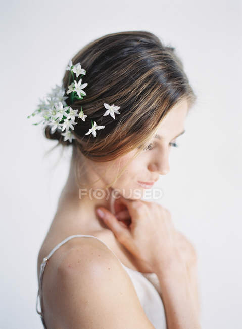 Fiori Nei Capelli.Feminine Stock Photos Royalty Free Images Focused