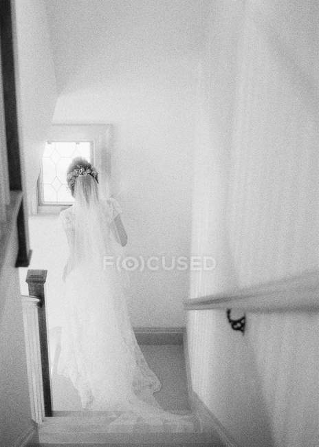 Woman in wedding dress and veil — Stock Photo
