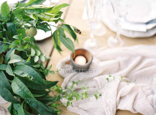 Налаштування стіл прикрашена відділення — стокове фото