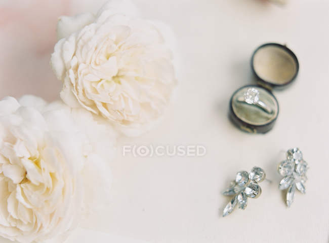 Kostbarer Ehering und Ohrringe — Stockfoto