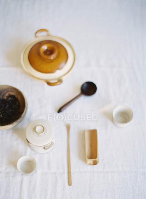 Tableau présentant, pour la cérémonie du thé — Photo de stock