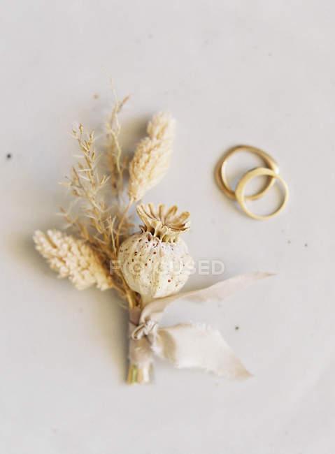 Wedding boutonniere on light background — Stock Photo