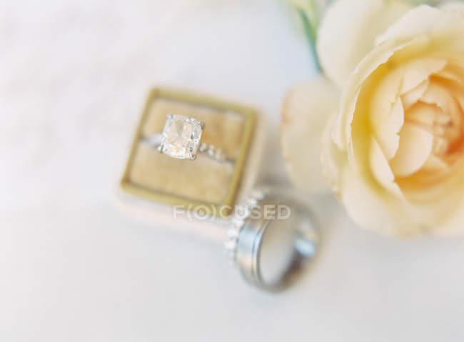 Elegante Eheringe auf dem Tisch — Stockfoto