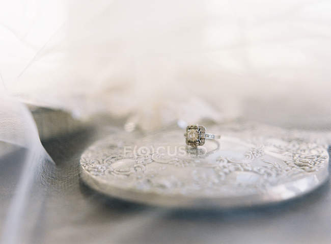 Vintage wedding ring with gem — Stock Photo