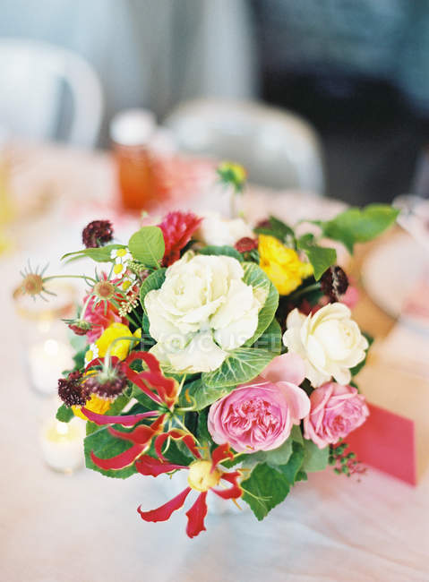 Fresh bouquet with peonies — Stock Photo