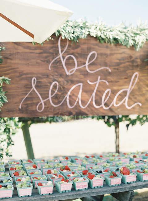 Decorative board at wedding — Stock Photo