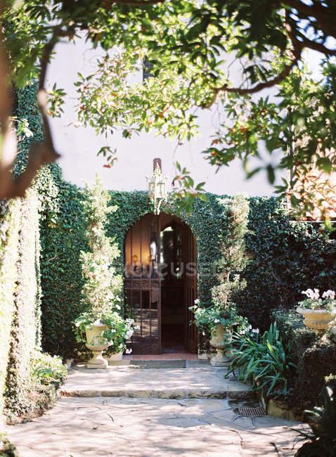 Вілла сад з пишною рослинністю — стокове фото