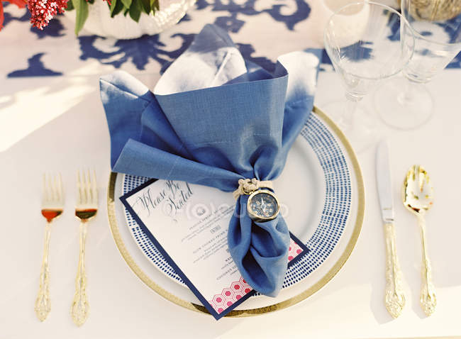 Decorated napkin on setting table — Stock Photo