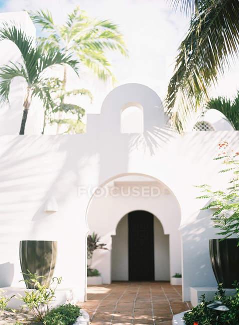 Entrada de villa con grandes palmeras en frente - foto de stock