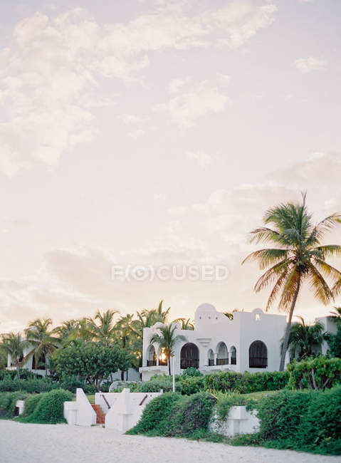Resort con ville e palme — Foto stock