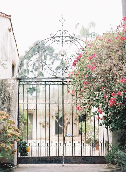 Багато прикрашений металеві ворота і елегантна Вілла — стокове фото
