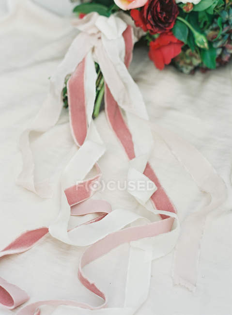 White and pink ribbons — Stock Photo